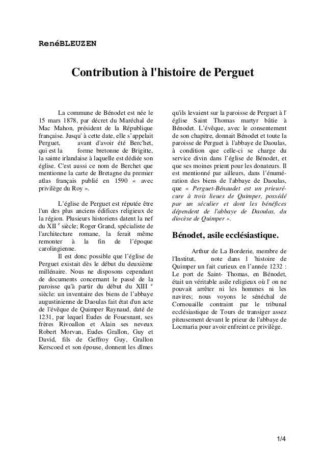 RenéBLEUZEN  Contribution à l'histoire de Perguet  La commune de Bénodet est née le 15 mars 1878, par décret du Maréchal d...