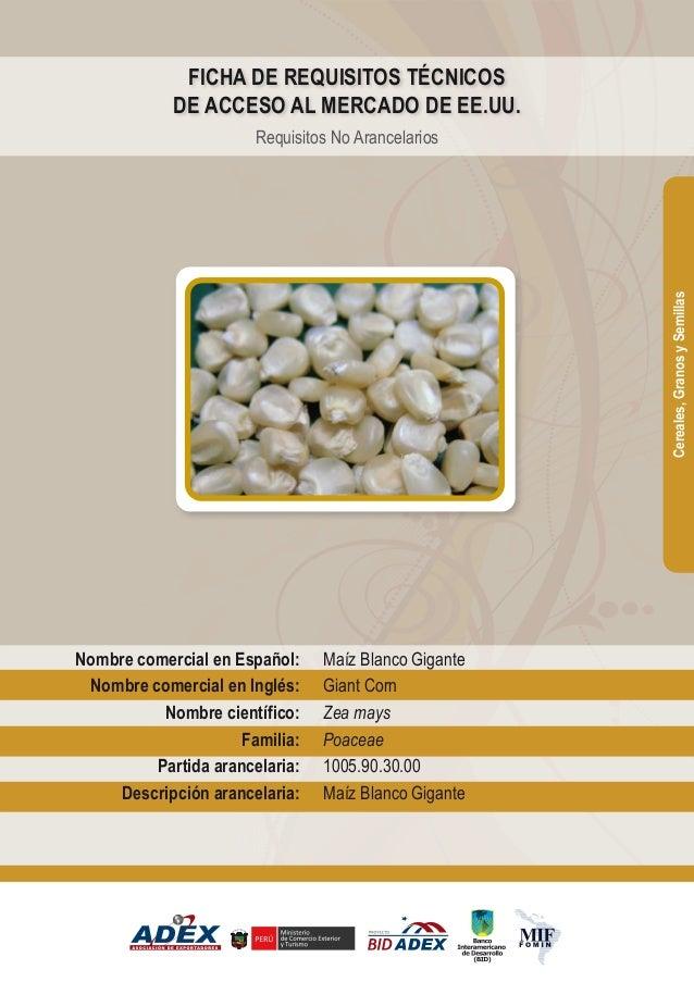 Maíz Blanco Gigante Giant Corn Zea mays Poaceae 1005.90.30.00 Maíz Blanco Gigante Nombre comercial en Español: Nombre come...