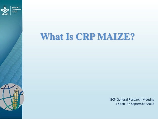 What Is CRP MAIZE? GCP General Research Meeting Lisbon 27 September,2013