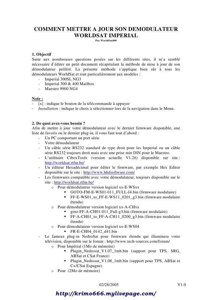COMMENT METTRE A JOUR SON DEMODULATEUR           WORLDSAT IMPERIAL                                     Par WorldSat4001. O...