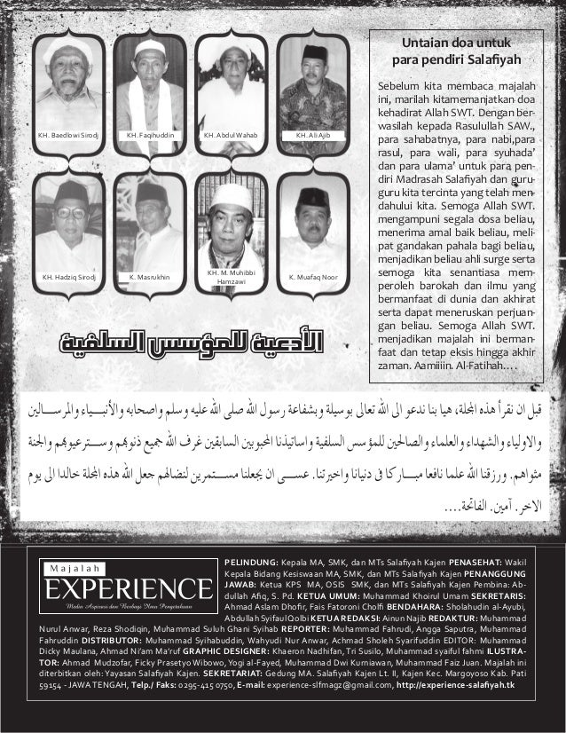 1 PELINDUNG: Kepala MA, SMK, dan MTs Salafiyah Kajen PENASEHAT: Wakil Kepala Bidang Kesiswaan MA, SMK, dan MTs Salafiyah Kaj...