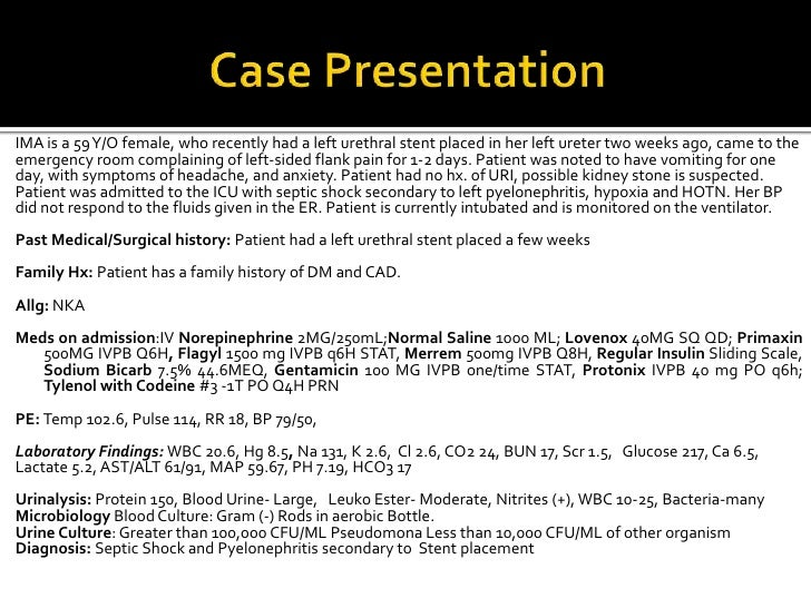 Major Case Presentation Septic Shock