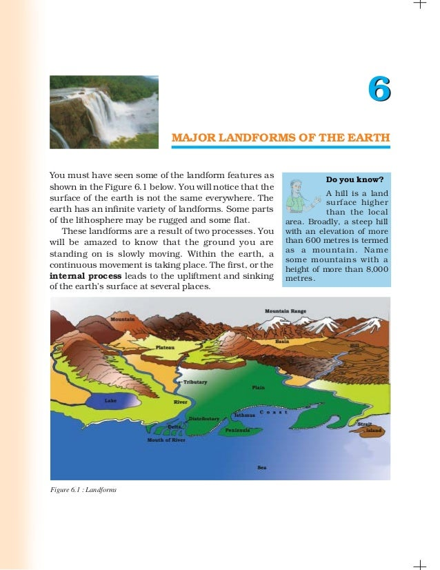 6                             MAJOR LANDFORMS OF THE EARTHYou must have seen some of the landform features as             ...