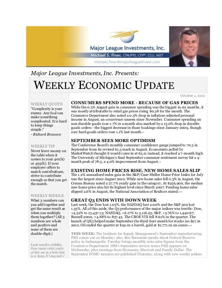Major league investments october 1 2012 economic and investment update