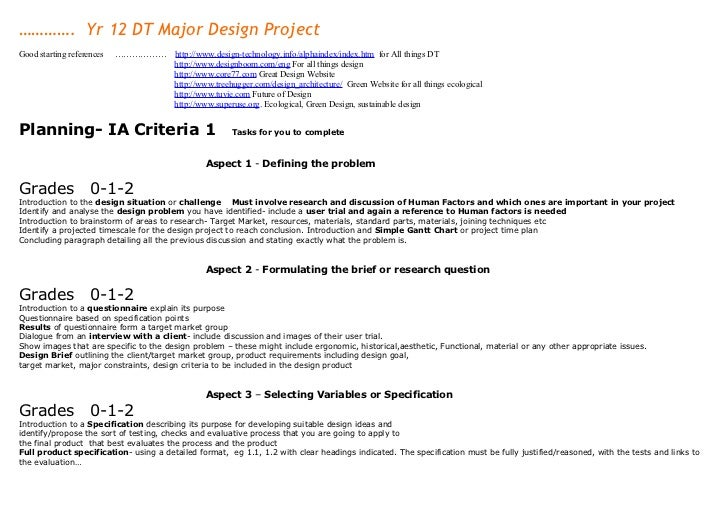 …………. Yr 12 DT Major Design ProjectGood starting references   ………………       http://www.design-technology.info/alphaindex/in...