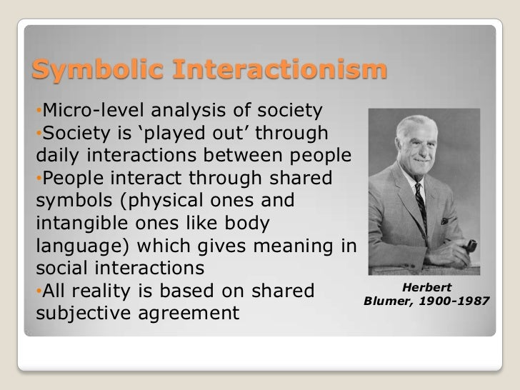 micro interactionism and the study of Sociological paradigm #3: symbolic interactionist theory symbolic interactionism is a micro-level theory that focuses on the relationships among individuals within a society communication—the exchange of meaning through language and symbols—is believed to be the way in which people make sense of their social worlds.