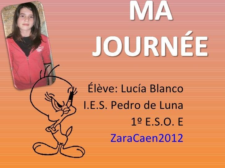 Élève: Lucía BlancoI.E.S. Pedro de Luna           1º E.S.O. E       ZaraCaen2012
