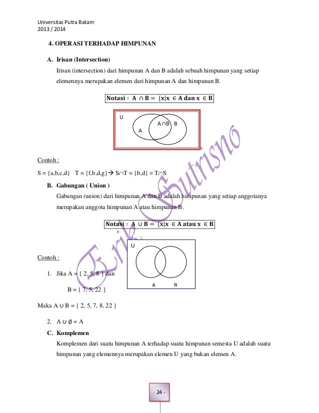 Operasi Himpunan Matematika Operasi Terhadap Himpunan a