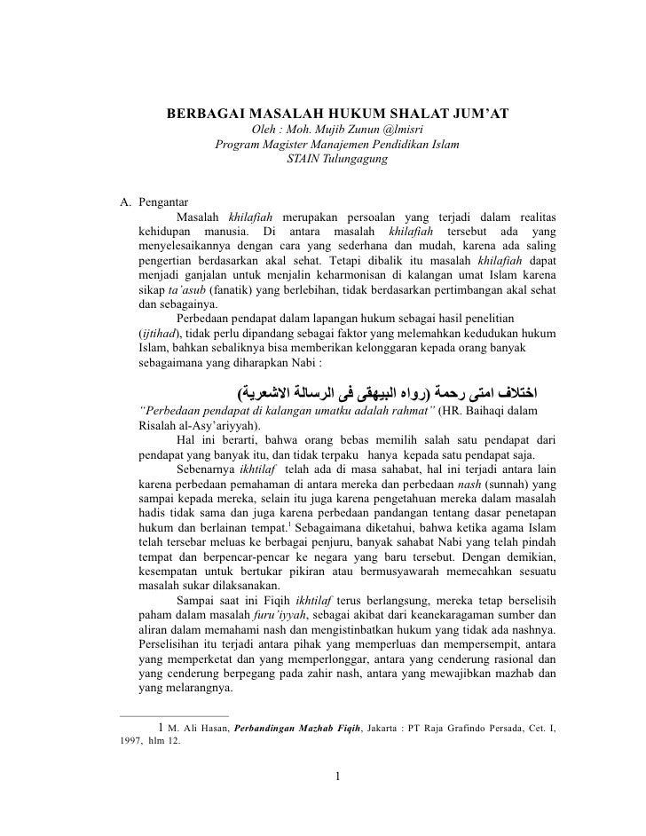 BERBAGAI MASALAH HUKUM SHALAT JUM'AT                           Oleh : Moh. Mujib Zunun @lmisri                     Program...