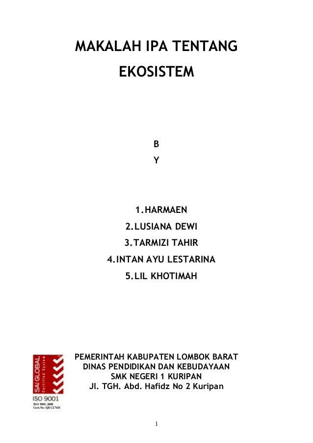 MAKALAH IPA TENTANG                             EKOSISTEM                                     B                           ...