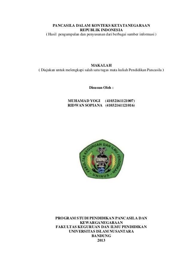 PANCASILA DALAM KONTEKS KETATANEGARAANREPUBLIK INDONESIA( Hasil pengumpulan dan penyusunan dari berbagai sumber informasi ...
