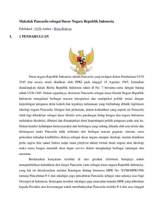 Makalah Pancasila sebagai Dasar Negara Republik Indonesia     Published : 19:56 Author : Bima RidwanI.   I. PENDAHULUAN   ...