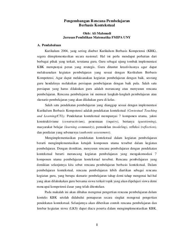 Pengembangan Rencana Pembelajaran                          Berbasis Kontekstual                              Oleh: Ali Mah...
