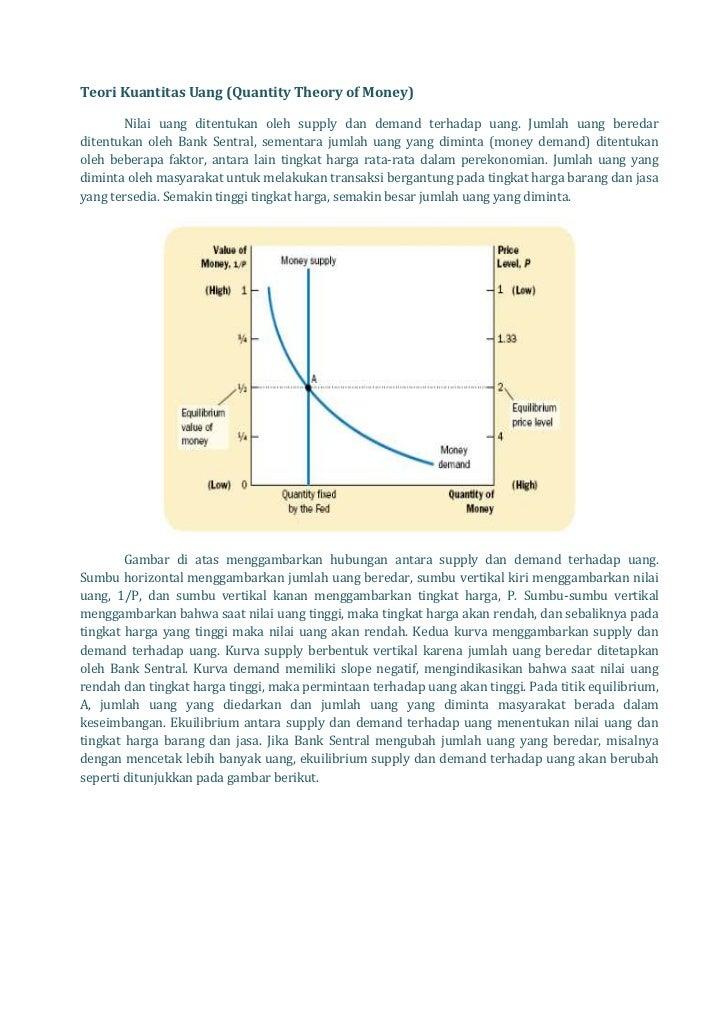 Teori Kuantitas Uang (Quantity Theory of Money)       Nilai uang ditentukan oleh supply dan demand terhadap uang. Jumlah u...