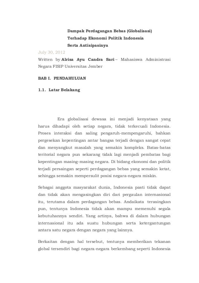 Dampak Perdagangan Bebas (Globalisasi)                Terhadap Ekonomi Politik Indonesia                Serta Antisipasiny...