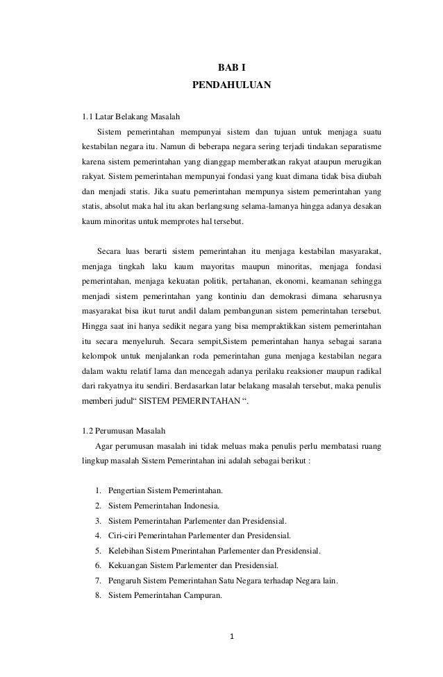 Makalah sistem pemerintahan indonesia BAB