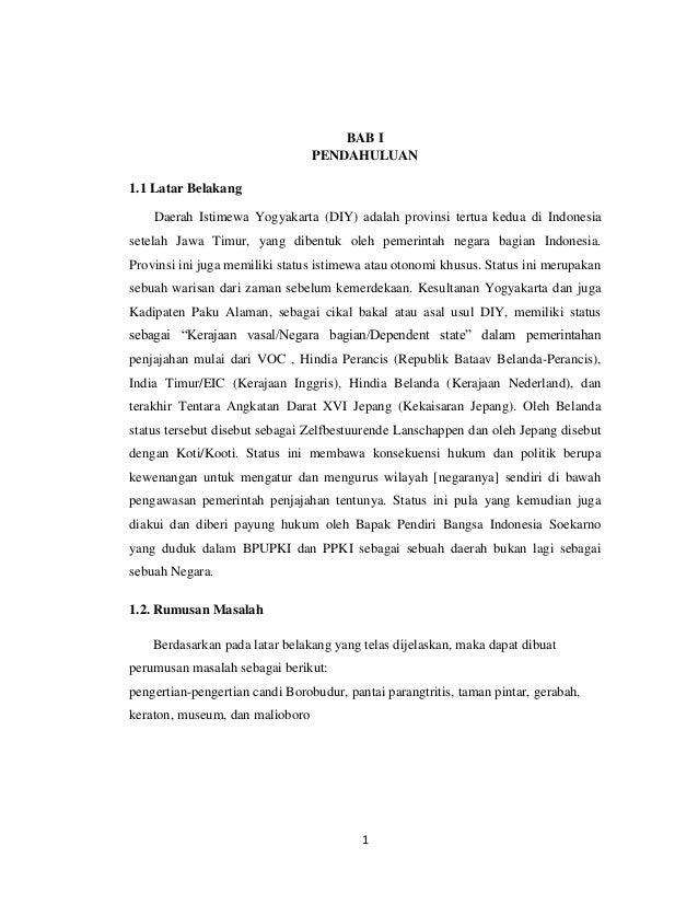 BAB I                                 PENDAHULUAN1.1 Latar Belakang    Daerah Istimewa Yogyakarta (DIY) adalah provinsi te...