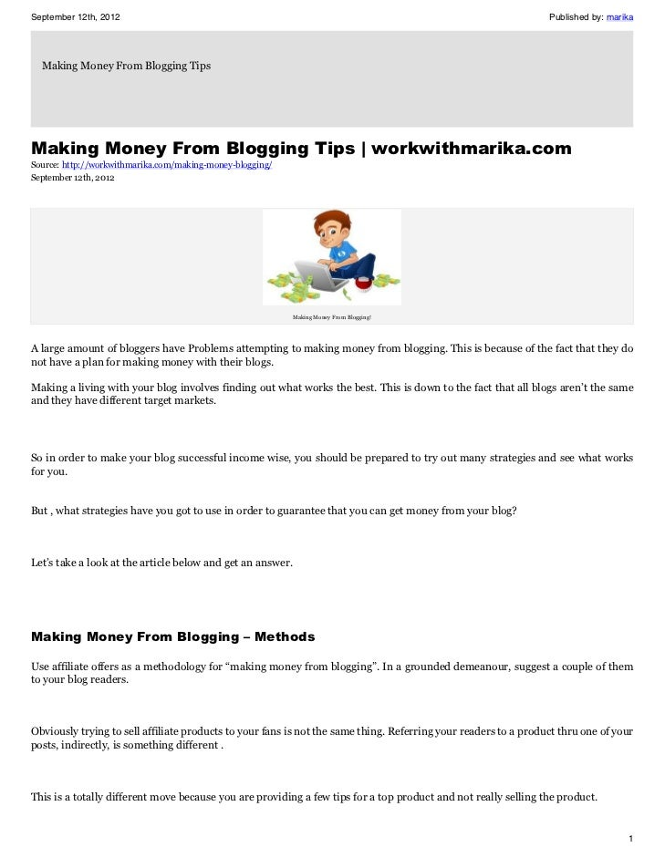 Make Money From Blogging How To