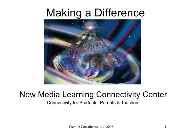Making a Difference New Media Learning Connectivity Center Connectivity for Students, Parents & Teachers
