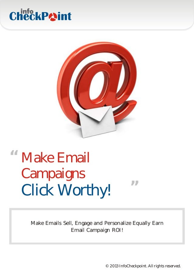 """"""" Make Email Campaigns                                     """" Click Worthy!   Make Emails Sell, Engage and Personalize Equa..."""