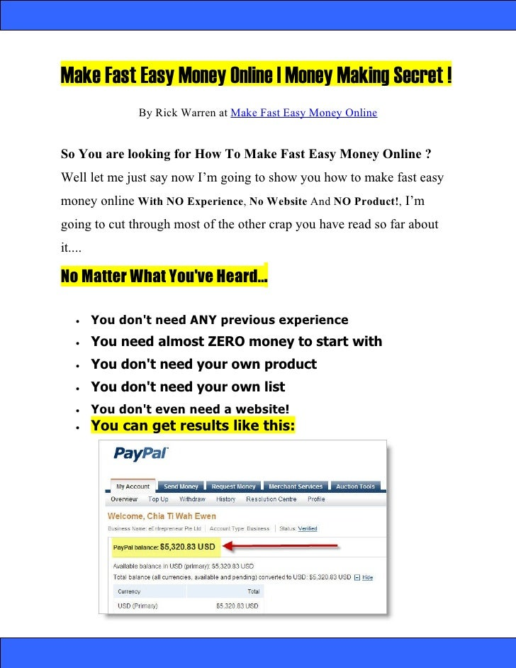 Make Fast Easy Money Online | Money Making Secret !