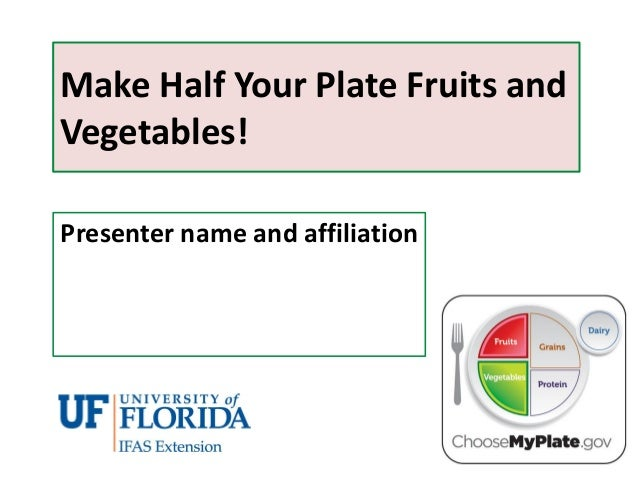 Make Half Your Plate Fruits and Vegetables! Presenter name and affiliation