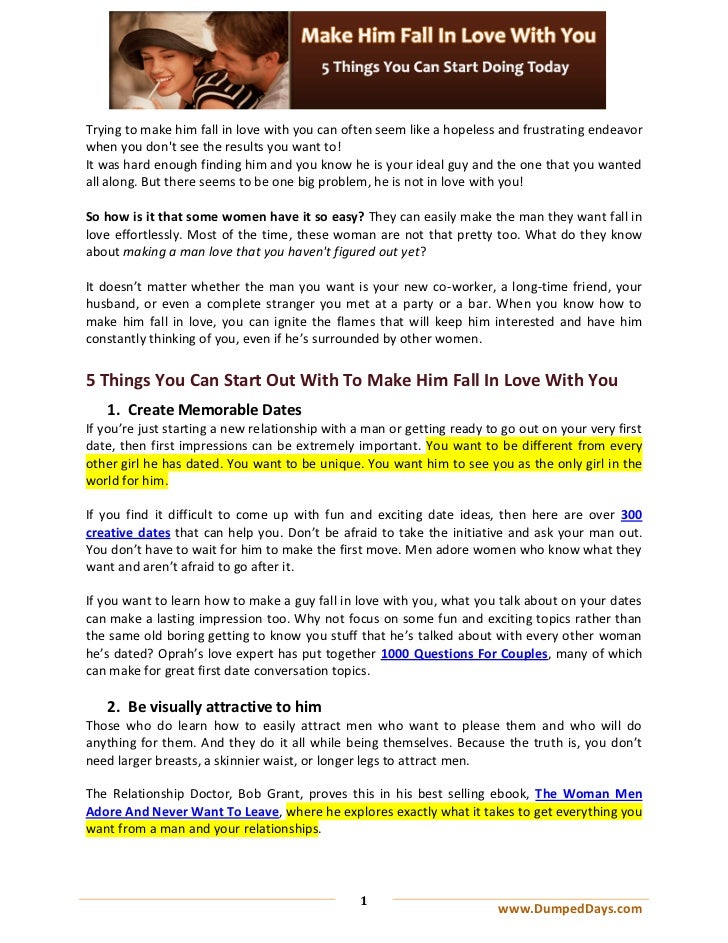 Make Him Fall In Love With You - 5 Things You Can Start Doing Today