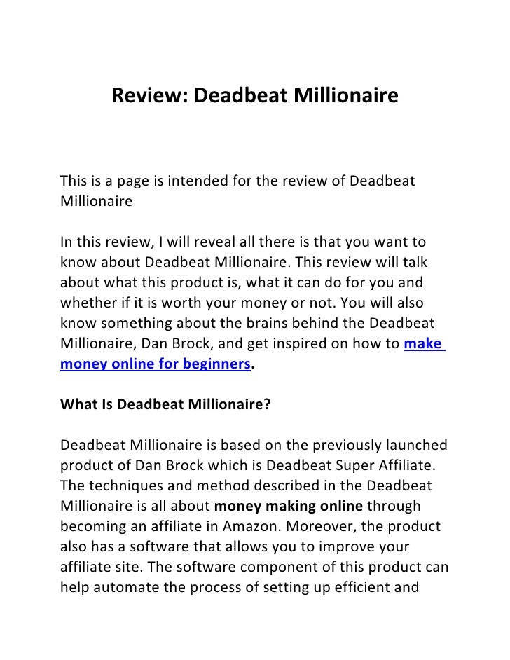 Make money online for beginners deadbeat millionaire review