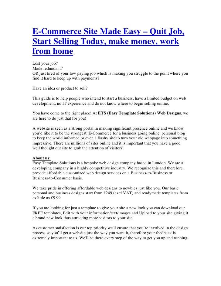 Make money work from home e commerce