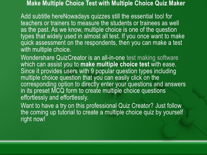 Make multiple choice test with multiple choice quiz