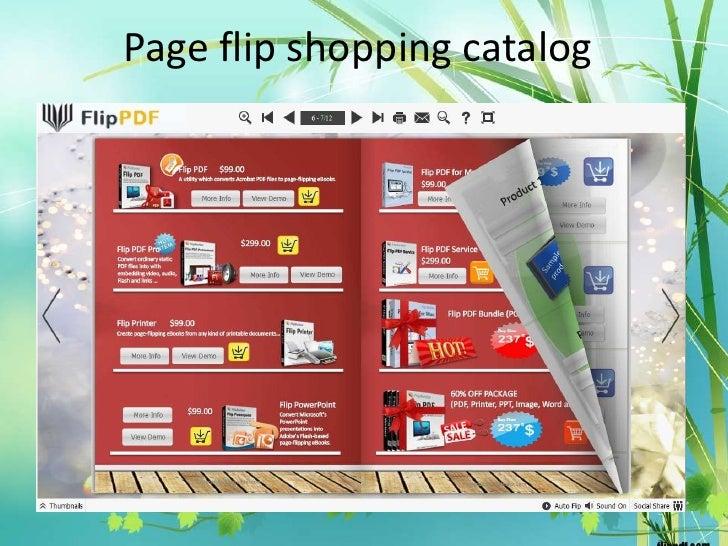 Page flip shopping catalog