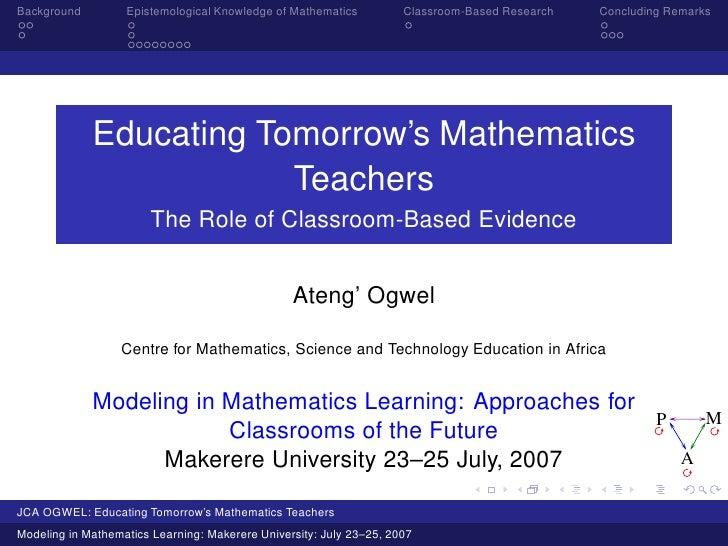 Educating Tomorrow's Mathematics Teachers