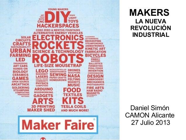 MAKERS LA NUEVA REVOLUCIÓN INDUSTRIAL Daniel Simón CAMON Alicante 27 Julio 2013