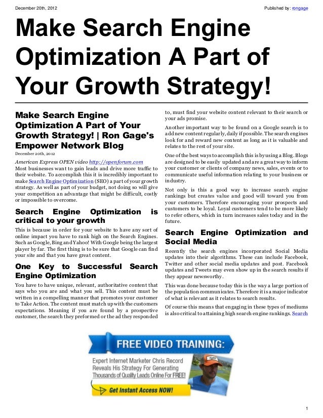 Make Search Engine Optimization A Part of Your Growth Strategy!