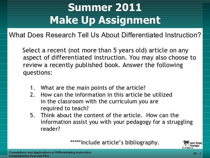 Summer 2011 Make Up Assignment   Foundations and Applications of Differentiating Instruction: Competencies Four and Five S...