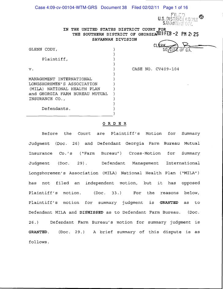 Case 4:09-cv-00104-WTM-GRS Document 38   Filed 02/02/11 Page 1 of 16                                                      ...