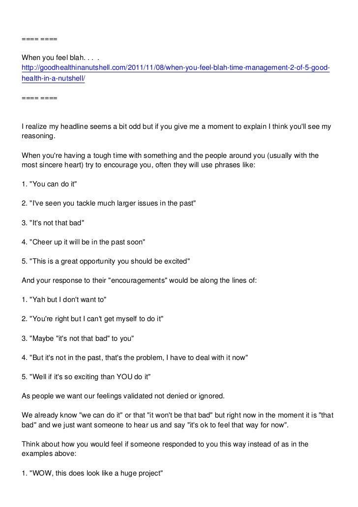 ==== ====When you feel blah. . . .http://goodhealthinanutshell.com/2011/11/08/when-you-feel-blah-time-management-2-of-5-go...