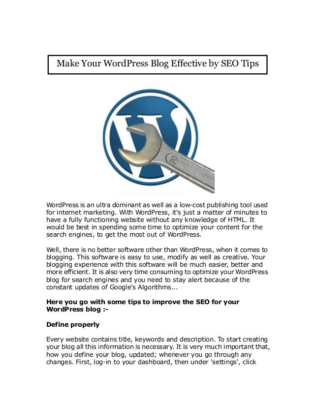 Make Your WordPress Blog Effective by SEO Tips