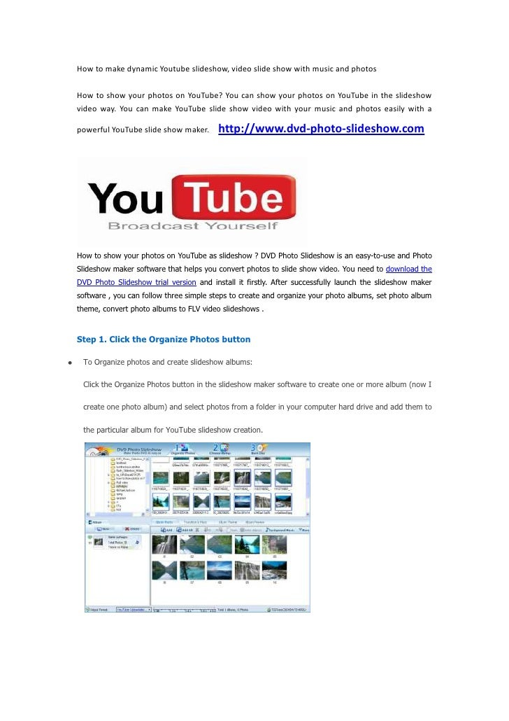 Make Youtube video slideshow with music and photos