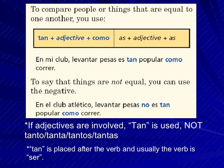 Tantos Tantas Tanto Tanta if Adjectives Are Involved Tan is Used Not Tanto Tanta Tantos Tantas
