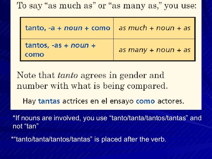 Tantos Tantas Tanto Tanta if Nouns Are Involved You Use Tanto Tanta Tantos Tantas And Not Tan
