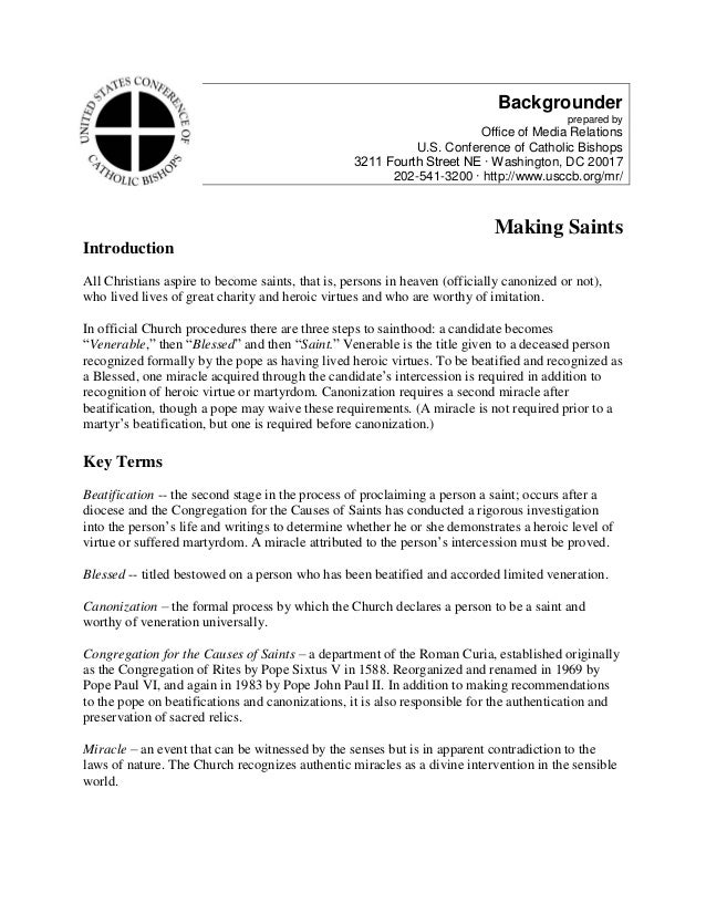 Backgrounder prepared by Office of Media Relations U.S. Conference of Catholic Bishops 3211 Fourth Street NE ∙ Washington,...