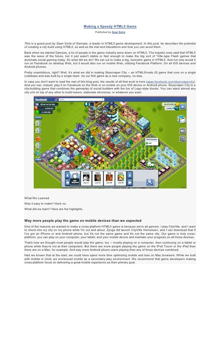 Making a Speedy HTML5 Game                                                      Published by Sean SoriaThis is a guest pos...