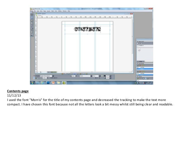 Making Contents Page