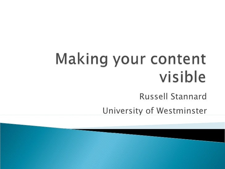 Russell Stannard University of Westminster