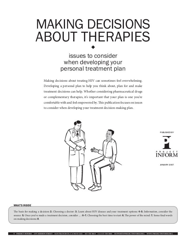 MAKING DECISIONS                    ABOUT THERAPIES                                                                      ...