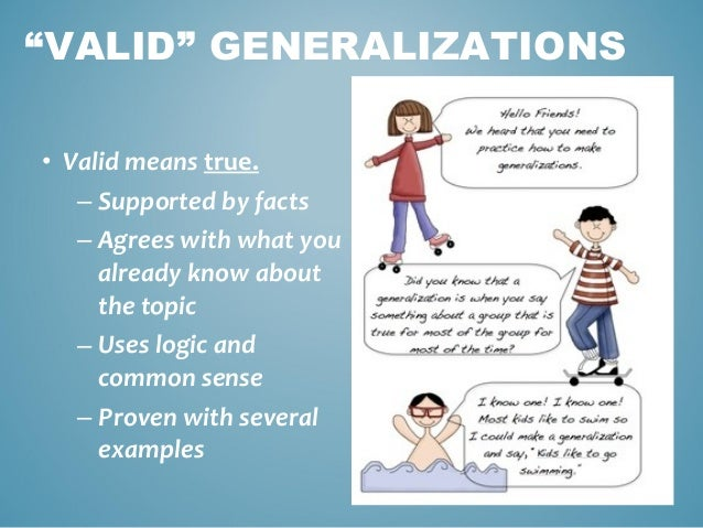 What does the term generalisations mean?