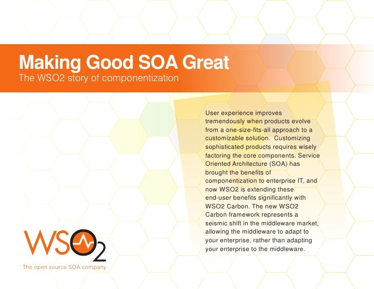 Making Good SOA Great The WSO2 story of componentization                                        User experience improves  ...