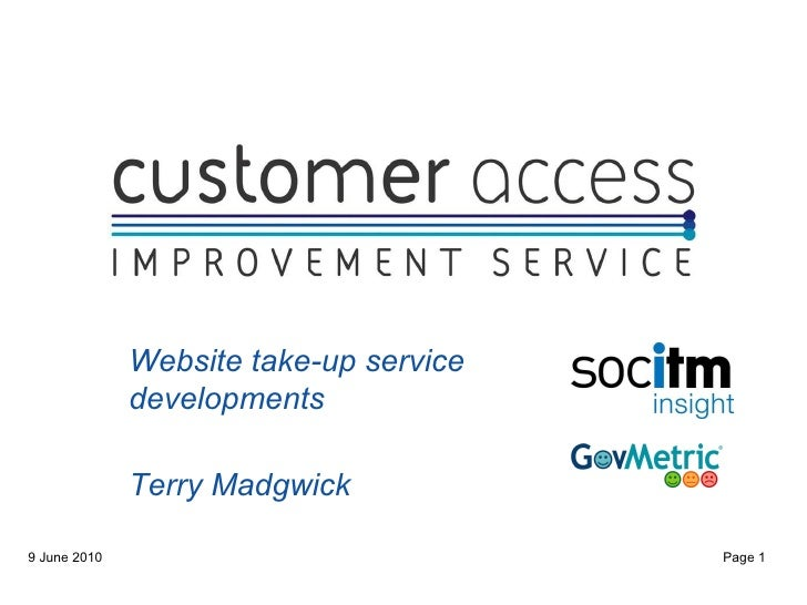 Website take-up service developments Terry Madgwick