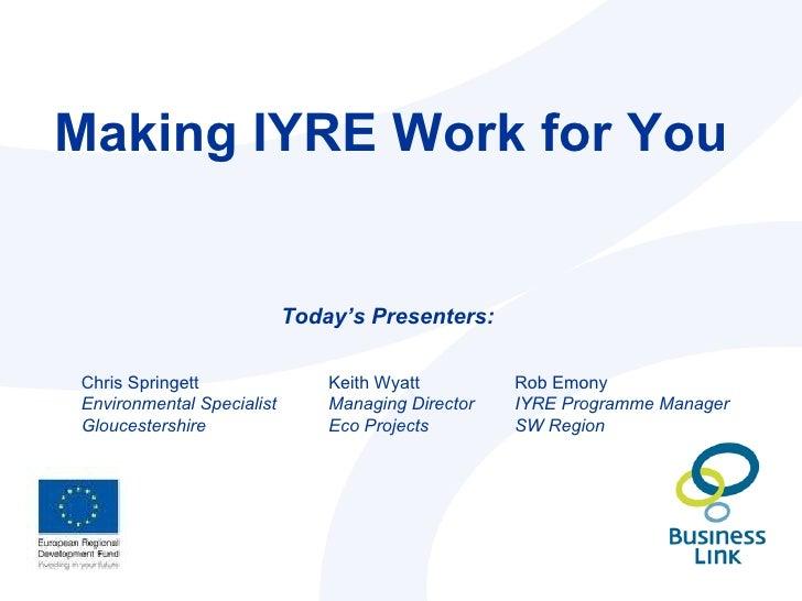 IYRE Consultants Breakfast 14 September